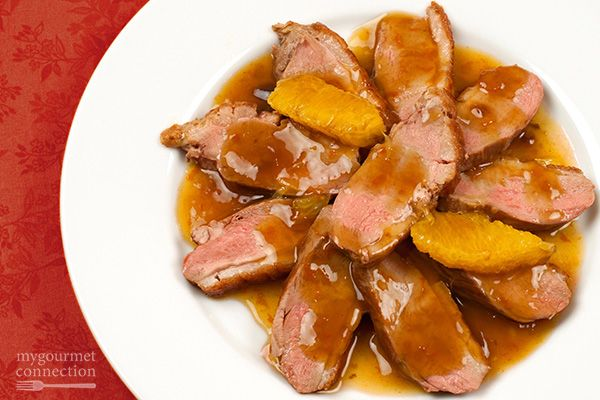 Boneless Duck Breast a l'Orange Recipe Main Dishes with boneless duck breast, ground black pepper, salt, navel oranges, corn starch, chicken broth, butter, shallots, sugar, sherry vinegar, orange juice, orange bitters