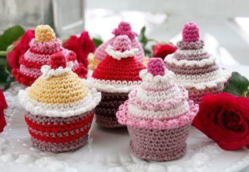 Hæklede muffins, hæklede cupcakes