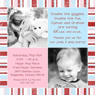 Sibling Birthday Party Invitation - Pink & Blue Photo