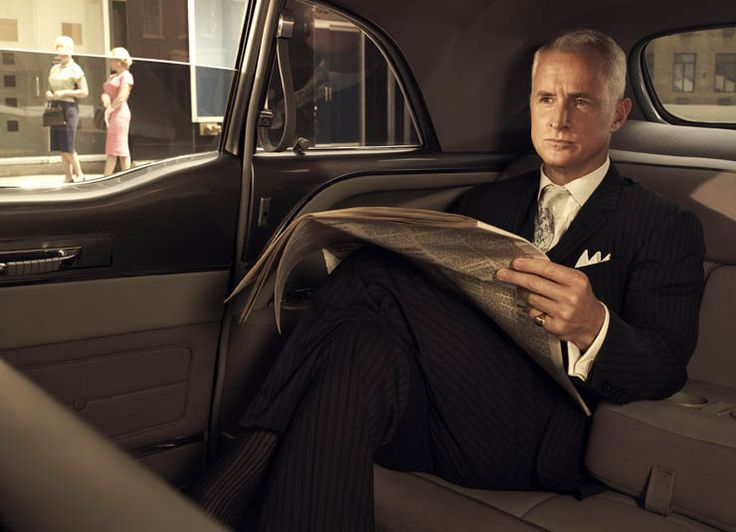 Roger Sterling pinstripe business suit