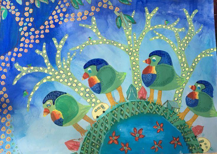 Rainbow Lorikeet Birds acrylic on canvas. Urunga by Katie Watts
