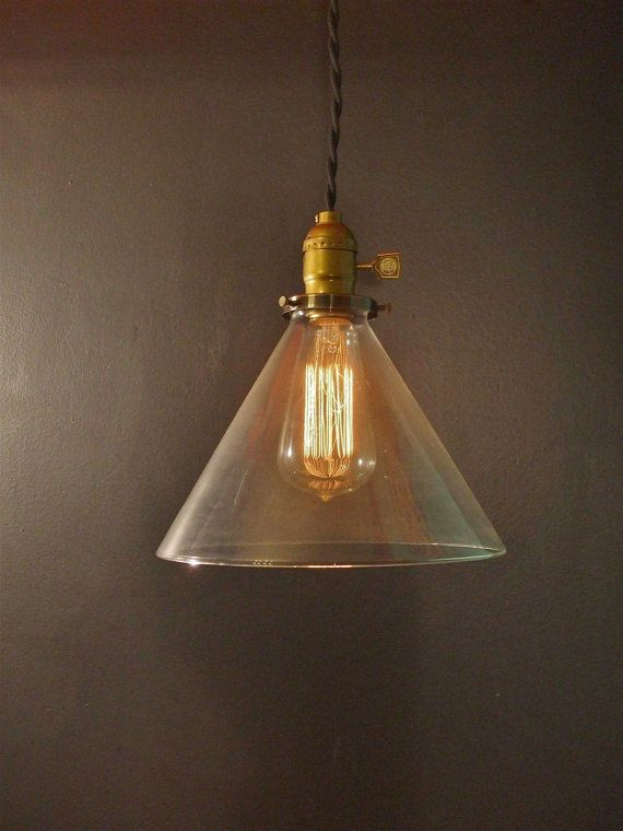 Vintage industrial hanging light with glass cone shade machine age minimalist bare bulb pendant lamp