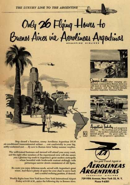 Aerolineas Argentina's Argentina – Only 26 Flying Hours to Buenos Aires via Aerolineas Argentinas (1952).   (lbk)