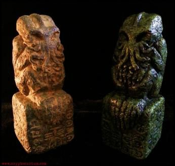 """ELDRITCH CTHULHU IDOLS. """"With him he bore the subject of his visit, a grotesque, repulsive, and apparently very ancient stone statuette whose origin he was at a loss to determine."""" – H.P. Lovecraft, The Call of Cthulhu"""