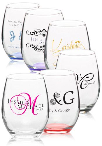Favor idea - Custom 9oz. Arc Perfection Personalized Stemless Wine Glasses – From $0.82 Per Glass