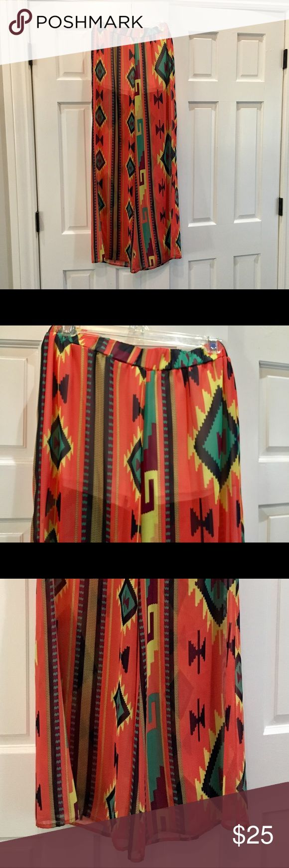 Sheer wide-leg pants with build-in shorts Sheer Aztec print pants wth built-in shorts. Elastic back. SO CUTE on! Comfortable too! Only worn once. Pants Wide Leg