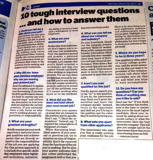 Interview Questions - Great Advice! We ask some of these questions in our mock interviews.