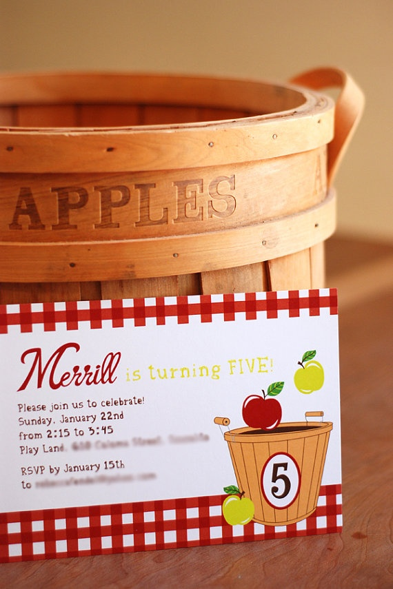 Apple Orchard  Birthday Party Invitations by erinink on Etsy, $1.40