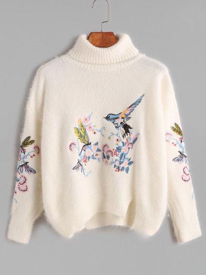 Beige Turtleneck Embroidered Slit Hem High Low Fuzzy Sweater
