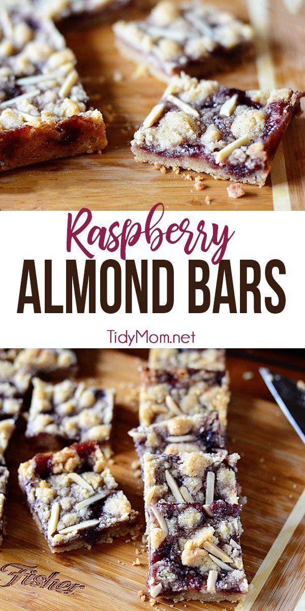 These Raspberry Almond Bars are sweet, tart, and totally satisfying. The perfect treat for snacks, school lunches or holiday cookie trays. The crumbly, buttery almond bar base is wonderful with any variety of jam that you like. Print the full recipes at TidyMom.net #almondbars #raspberry