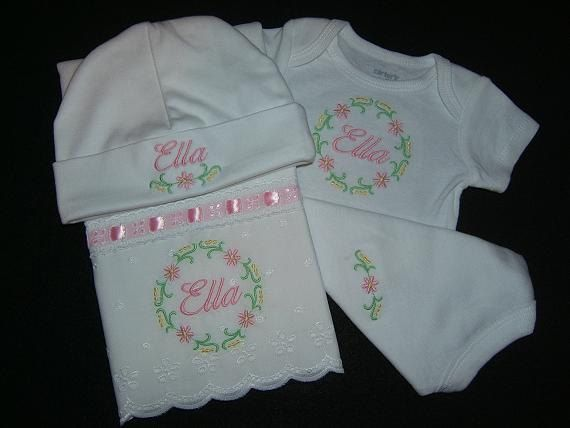 83 best burp cloths images on pinterest machine embroidery baby personalized 3 piece baby gift set onesieburp clothhat monogrammed negle Gallery