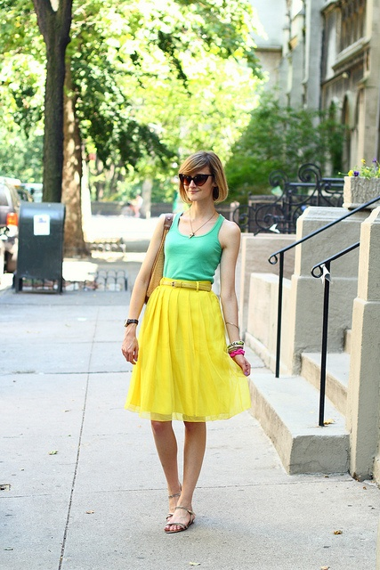 cute neon colors | district of chic: Cat Eyes, Summer Colour, Skirts Outfits, Yellow Skirts, Awesome Clothing, Boutiques Sunglasses, Neon Colors, Summer Colors, Brown Cat