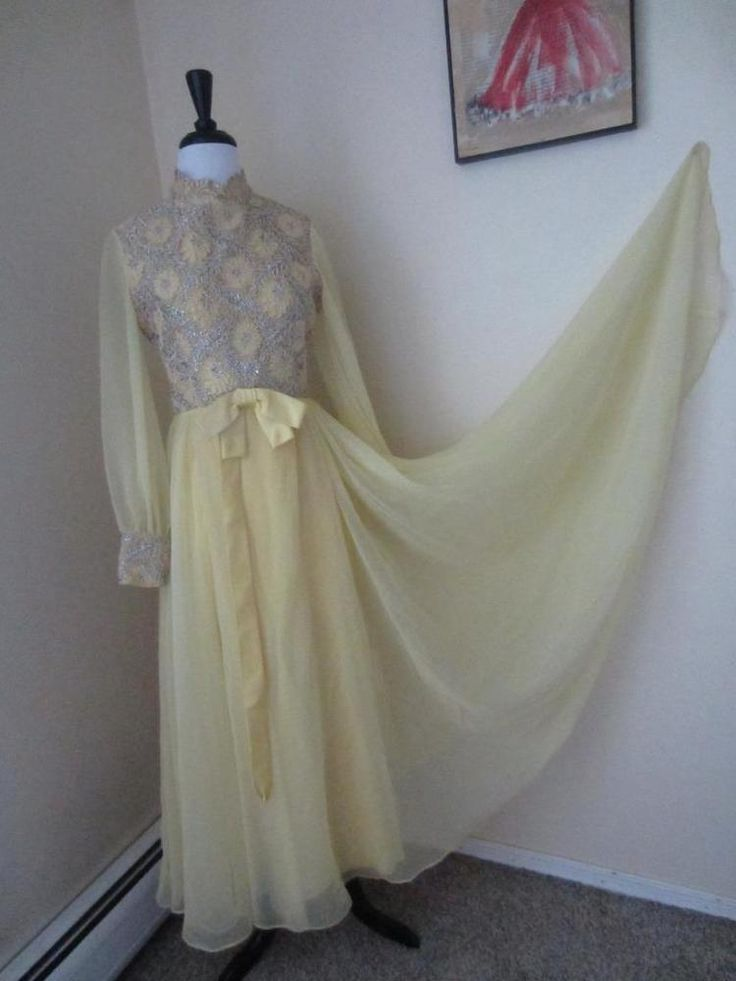 Vintage 1960's Yellow Chiffon & Silver Metallic Party Dress Bishop Sleeves S M #Unbranded #BallGown #Cocktail