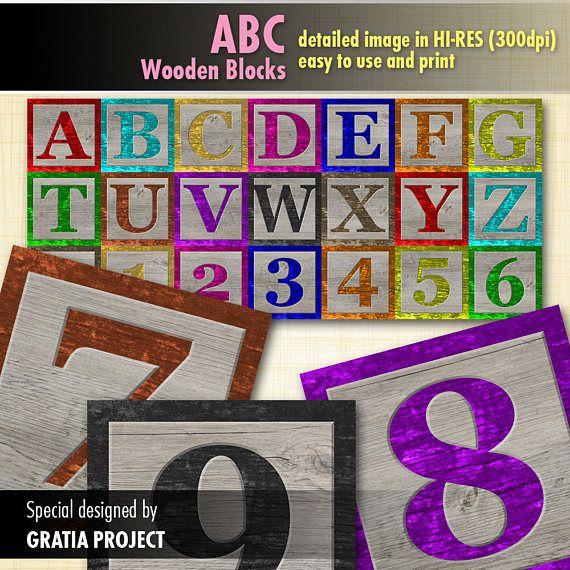 Baby ABC Blocks  Wooden Digital Clipart for invitation