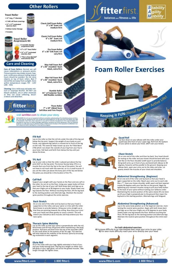 Foam Roller Exercise Chart - by FitterFirst