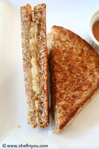 Fried Peanut Butter and Banana Sandwich recipe |  Grilled Peanut Butter Banana Sandwich Recipe