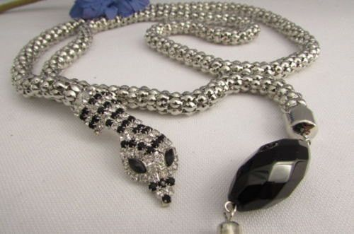 """Silver Metal Black Beads 20"""" Long Snake Chains Necklace Belt New Women Fashion Accessories"""
