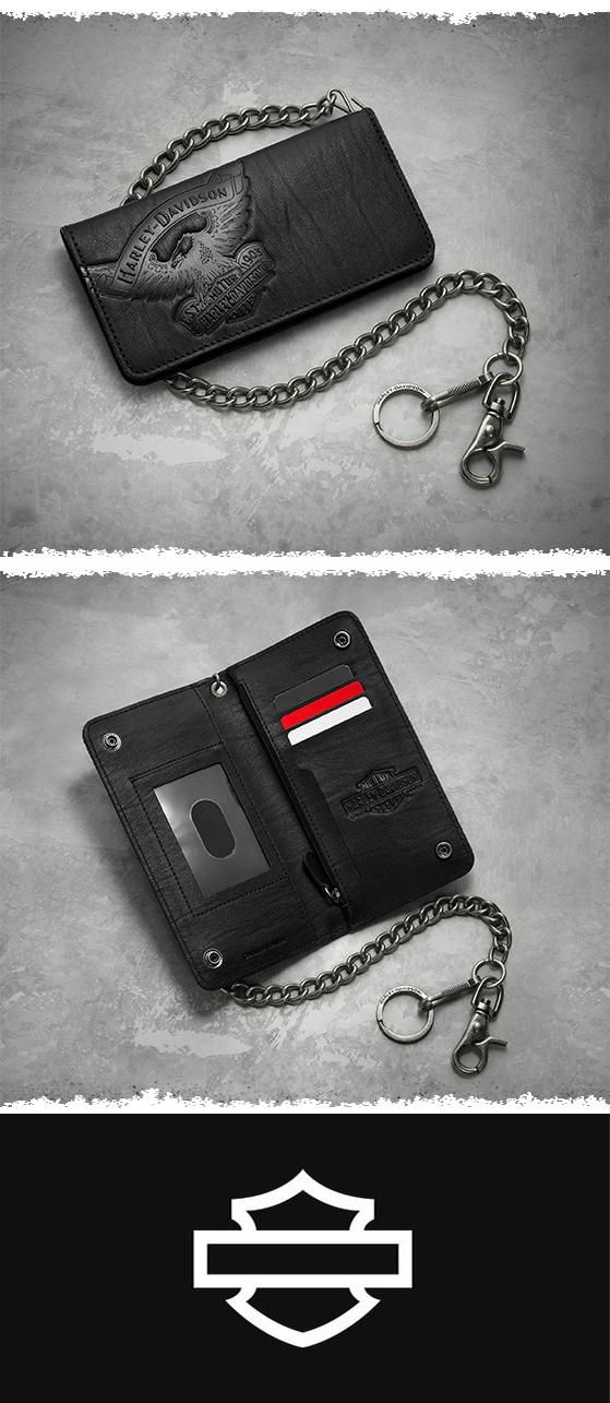 Receipts, cash, and ID stuffed in your pocket? You can do better.   Harley-Davidson Eagle Biker Wallet