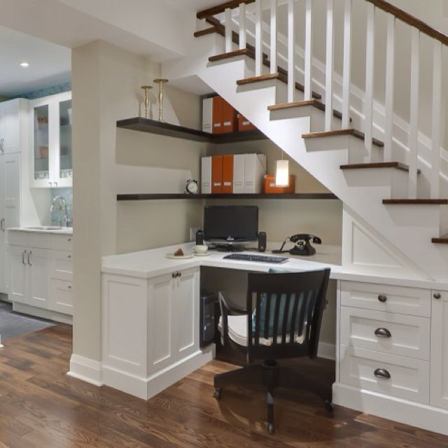 Home office built-in under stairs!