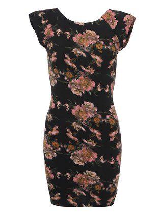 AX Paris - Černé šaty s růžovým florálním vzorem - 1