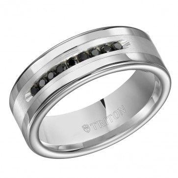 Triton, Tungsten Carbide & Sterling Silver 9mm I3-IJ Black Diamond Comfort Fit Wedding Band, 1/4 ctw