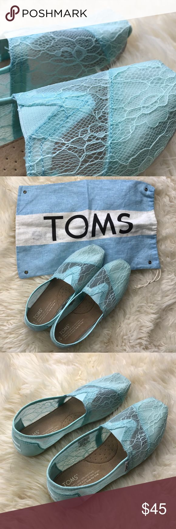 New Mint Lace TOMS! New Mint TOMS! Wore once! Perfect condition! Size 7! Unique hardened lace! Toms Shoes Flats & Loafers