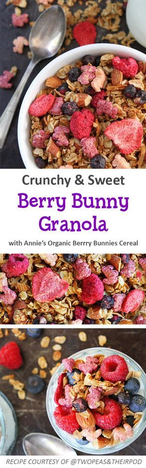 Make Saturday morning a little sweeter with this berry delicious organic granola recipe! Combine oats, coconut, almonds, sugar, cinnamon & salt. In a small pan, whisk the coconut oil & maple syrup over medium heat for 2 minutes. Remove from heat & whisk in the vanilla extract. Pour over the oat mixture until well coated. Spread onto prepared baking sheet & bake for 25-30 minutes at 325F. Let granola cool. Add in Annie's Organic Berry Bunnies Cereal & freeze dried berries.