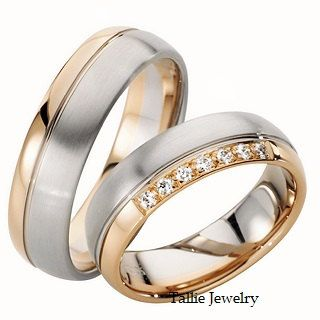 14K SOLID WHITE AND YELLOW MATCHING HIS & HERS WEDDING BANDS Width : 6mm/6mm Finish : Satin & Shiny Finish Fit : Comfort Fit Size: 4-12 -A WIDE SELECTION OF MENS & WOMENS WEDDING BANDS AT LOWEST PRICES. -DIRECT MANUFACTURER FROM NEW YORK -GREATEST QUALITY -EXCELLENT CUSTOMER SERVICE -SATISFACTION GUARANTEED ********YOUR SATISFACTION IS OUR #1 PRIORITY.********* -All His and Hers Sets are available individually. Her wedding band has 7 Round Brilliant Cut Diamonds; totaling approx. 0.11 c...