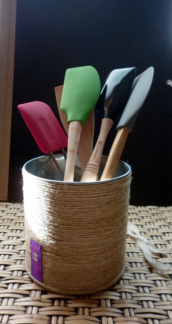 Utensil Holder, Plant Pot of Metal & Hemp