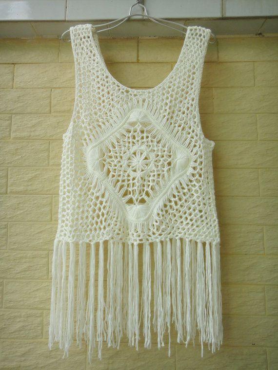 Fringe Vest Crochet Bikini Cover Up Summer by Tinacrochetstudio
