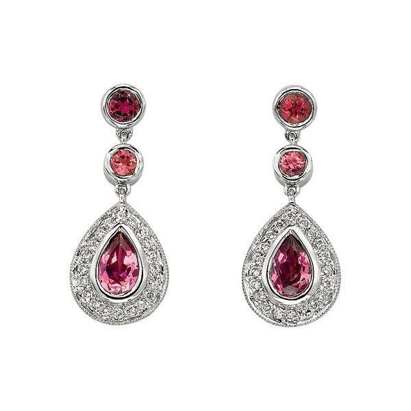 Pink Diamond Jewelry   Home » Gabriel & Co. - Pink Tourmaline & Diamond Drop Earrings