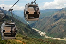 Aerial cable car that crosses the Chicamocha Canyon from one end to the other.Santander.Colombia.