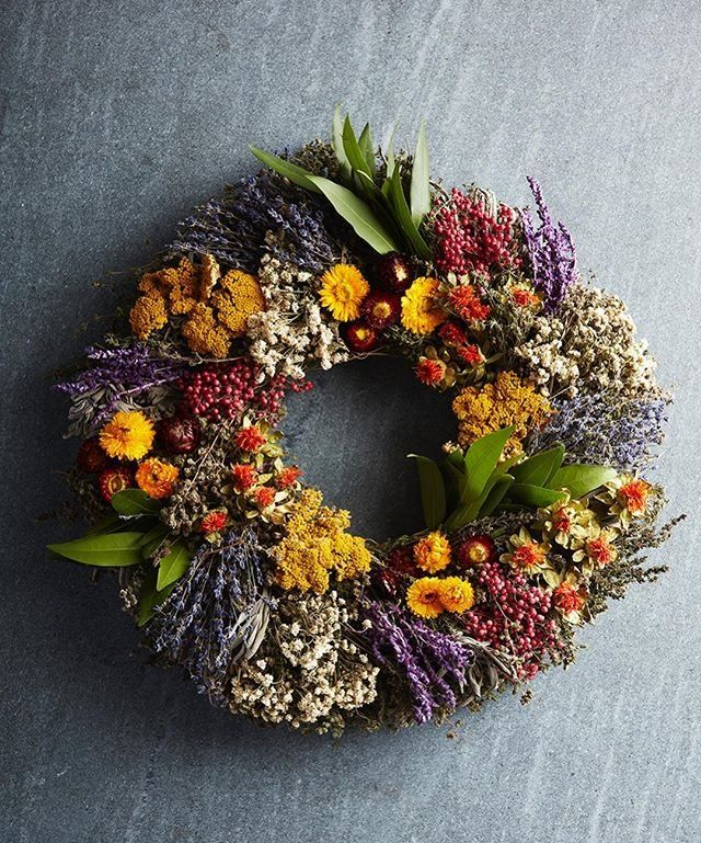 Fall Wreath with Dried Natural Flowers and Pods Autumn Wreath Year Round Wreath Summer Wreath.