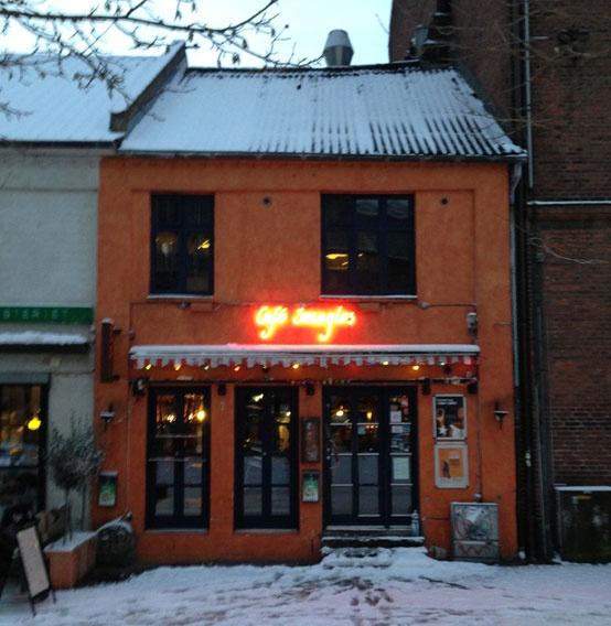 Cafe in Aarhus Centre, DK, snowy morning on January 15, 2013. Photo taken by #Unity Studios