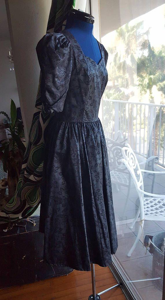 Laura Ashley dress floral print pouf sleeves full skirt