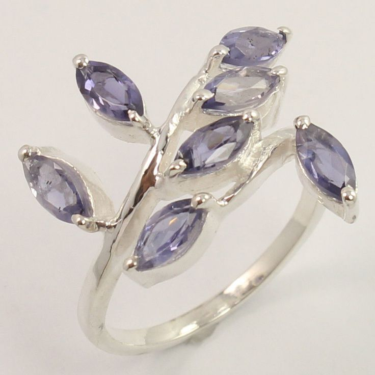 Beautiful Ring Size UK L1/2 Natural IOLITE Gemstone 925 Sterling Silver Top Gift #Unbranded