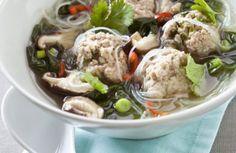 Thaïse soep met gehaktballetjes (met paksoi).