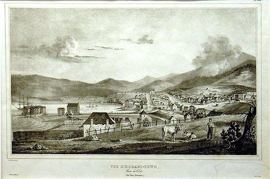 Vue d'Hobart-Town, Prise de l'Est. (Ile Van-Diemen), 1833
