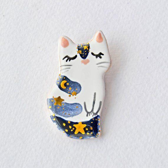 pin   little ceramic kitty pin