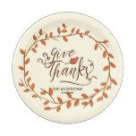 Give Thanks. Thanksgiving. Custom Name and Date. Paper Plate #thanksgiving