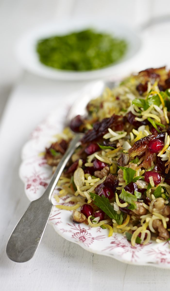 Persian jewelled rice with pomegranate, walnut, parsley and saffron