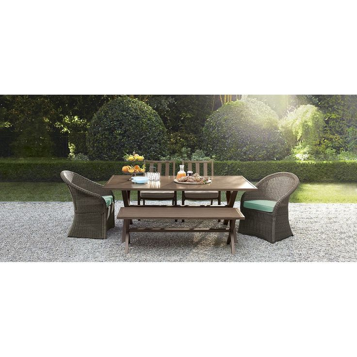 Threshold Holden 6 Piece Metal Wicker Rectangular Patio Dining Furniture Set