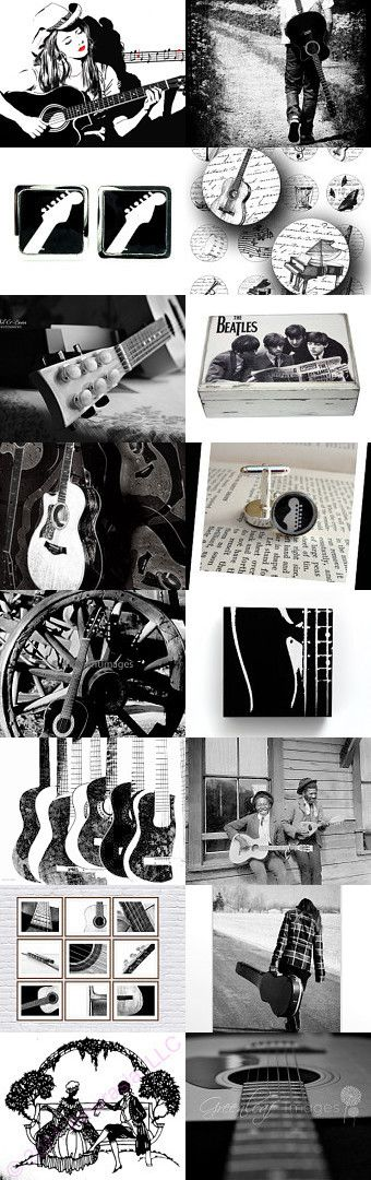 Guitar black and white by Kinga on Etsy--Pinned with TreasuryPin.com