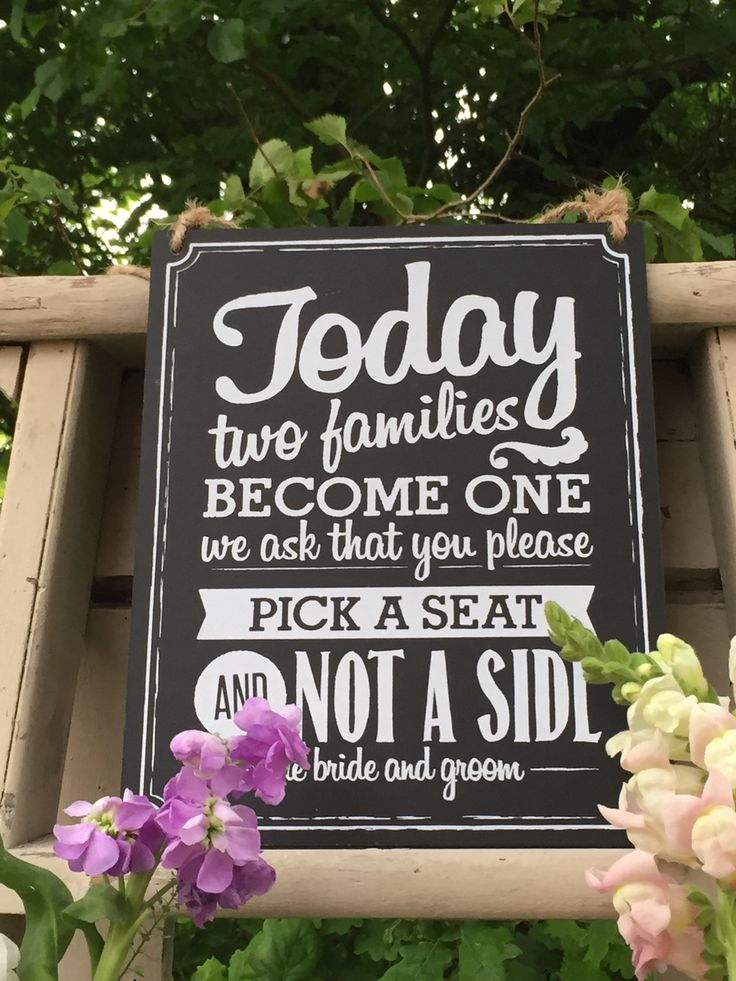 Pick a side vintage chalk board sign. Great for civil ceremonies for a vintage / rustic style wedding.