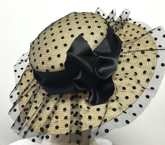 Polka Dot Kentucky Derby cappello cappelli di di MakowskyMillinery