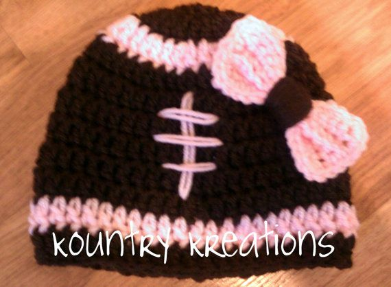 Girly LET'S PLAY Some FOOTBALL Girls Baby by KountryKreations2008, $8.00: Football Baby, Girls Hats, Crochet Hats, Baby Hats, Baby Girls, Girls Baby, Football Girls, Girls Football, Football Hats