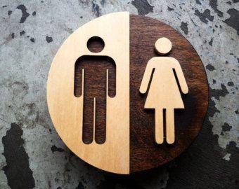 "Unisex Office Restroom Bathroom Sign - WC Signage - 6"" Diameter"