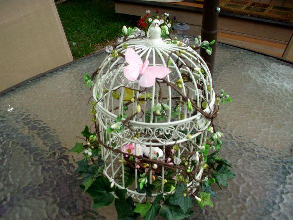 Vintage Floral Wedding Centerpieces | My diy birdcage centerpiece : wedding green ivory pink reception ...