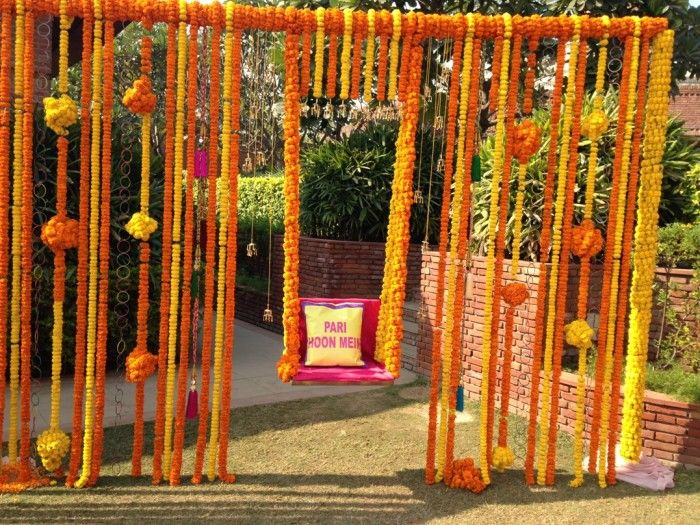A swing for the bride. Fun Indian wedding decorations #indianweddingdecorations