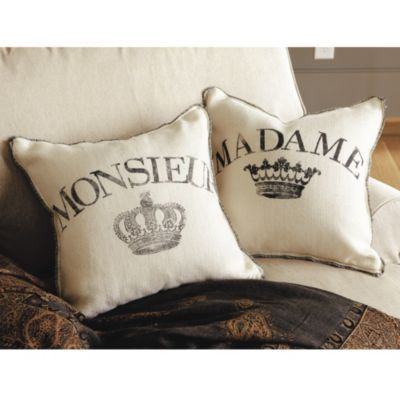 Madame et Monsieur Burlap Pillows
